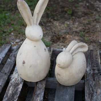 Set of 2 Rabbit Sculptures