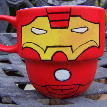 Handpainted Iron Man Stackable Mug by TheCornerGeekery on Etsy