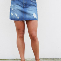 Mini Me Distressed Denim Skirt