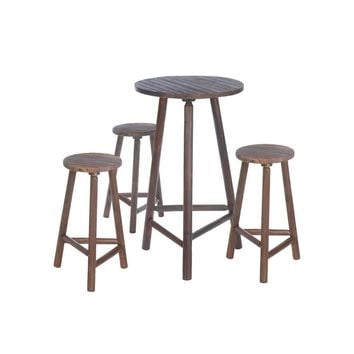 Fir Wood Bar Table And Stools Set