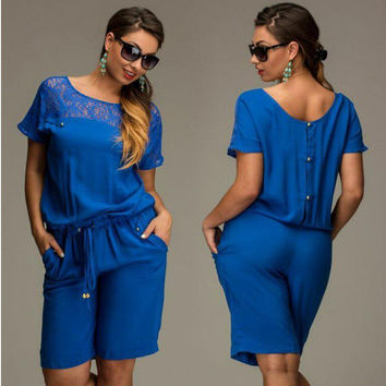 Women Summer Jumpsuits & Rompers L-6XL Plus Size Lace  Short Sleeve Buttons Loose Lace Shorts Overalls Female M0233