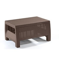 Modern Patio Table Ottoman in Brown Outdoor Weather Resistant Plastic Rattan