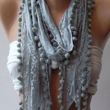 Grey /Lace and Elegant Shawl / Scarf