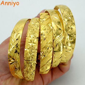 Anniyo (5 Model) Each US$ 4.48 Gold Color and Copper Bangles for Women Fashion African / Arabian Jewelry Bracelet Gifts #005407