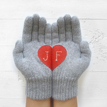 VALENTINE'S DAY Gift, Personalized, Custom Gift, Heart Gloves, Customize, Gray Gloves, Grey, Red Heart, Initials, Special Gift, Hearts, Love