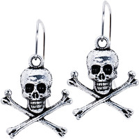Antiqued Silver Tone Skull and Crossbone Earrings | Body Candy Body Jewelry