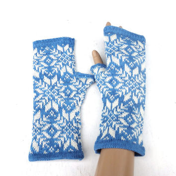 Knit fingerless gloves, knitted patterned arm warmers, blue white winter gloves, colorful mittens, faire isle mittens, handmade accessories