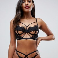 ASOS DESIGN Valentines Anais corded lace strappy thong at asos.com