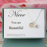 Gift for niece jewelry sterling silver with heart and name initial necklace - graduation gift or birthday gift from uncle or aunt
