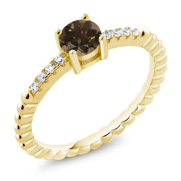 Brown Smoky Quartz Swarovski Zirconia 18K Yellow Gold Plated Silver Ring
