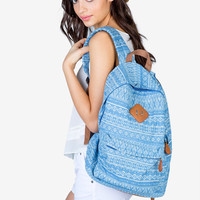 Tribal Printed Denim Backpack