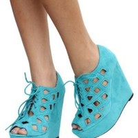 Teal Cutout Faux Suede Lace_up Open Toe Platform Wedge Heels Resist:Amazon:Shoes