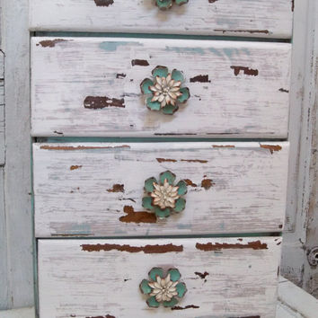 Shabby chic side table with drawers distressed cottage colors nightstand home decor anita spero