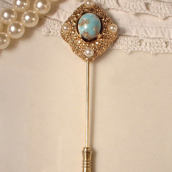 Vintage Grooms Boutonniere Pin, Turquoise / Aqua & White Ivory Pearl Antique Gold Stick Pin, Bouquet Accent or Bridal Hair Pin Art Deco