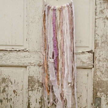 Bohemian Wedding Dreamcatcher, White, Pastel, Pale Pink, Shabby Chic, Rustic, Vintage Lace, Wall Hanging, Gypsy, Wedding Gift, Home Decor