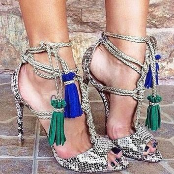 Python Leather Peep Toe Sandals Blue/Green Fringe Lace Up High Heels Rope Straps Stiletto