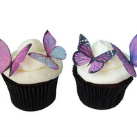 EDIBLE BUTTERFLIES in 24 Prettiest Purple - Cupcake Toppers, Butterfly Cake Decorations, Wedding Cake Toppers, Cup Cake Toppers