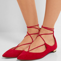 Aquazzura - Christy suede point-toe flats