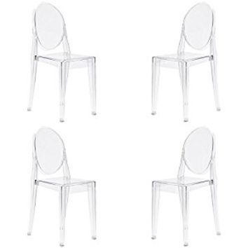 Poly and Bark Victoria Ghost Style Side Chair (Set of 4), Clear