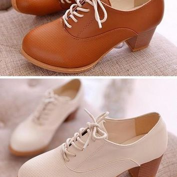 Fashion Online 2015 Spring New Women's Oxfords Shoes Spring Autumn Female Casual Pumps Brown Black Square Heel Round Toe Woman Shoes Leather Boots - 1946926788