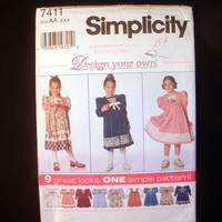 Little Girls Yoked Dress, 9 Looks, Design Your Own, Toddler Size 2, 3, 4 Simplicity 7411 Sewing Pattern Uncut