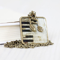 Vintage Piano key necklace  Music jewelry  by VisitingCINDERELLA