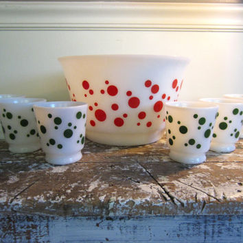 Hazel Atlas Polka Dot Punch Bowl Egg Nog Set Red Polka Dot Party Bowl Xmas Bowl Set Depression Glass