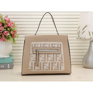 Fendi Fashion Printing Lady Shopping Bag One Shoulder Pack  Beige