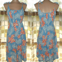 Vintage 60s Young Hawaiian Smocked Sundress Tie Shoulder  LARGE Floral Dress Liberty House 70s