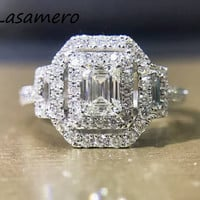 LASAMERO Ring For Women 1 CTW  Cushion Cut  Natural Diamond Ring Accents 18k Gold Real Diamond Engagement Wedding Ring