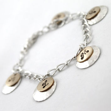 5 Initials Bracelet Mixed Metals by LustrousElements