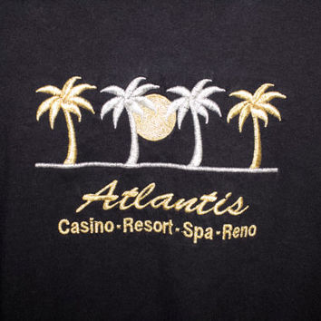 90s ATLANTIS gold + silver palm trees soft black tee - vintage 1990s vaporwave shirt - las vegas casino - golden tree - embroidered - S - M