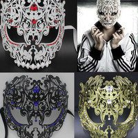 Black Red Gold Silver Full Face Metal Filigree Halloween Skull Men Women Rhinestone Party Mask Venetian Costume Masquerade Mask