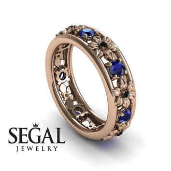 Anniversary ring 14K Red Gold Flowers Vintage Sapphire And Black Diamond - Victoria