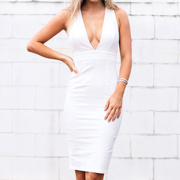 MILLA PLUNGE V NECK MIDI DRESS - Dissh