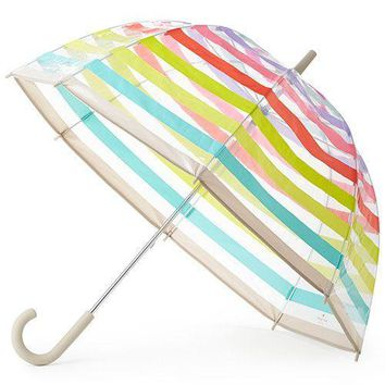 Clear Umbrella in Multi Stripes by Kate Spade New York - FINAL SALE