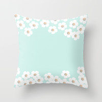 DAISY RAIN MINT Throw Pillow by Monika Strigel