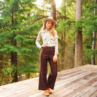 vintage high waisted pants 28 Waist / 60s 70s Brown Flared Wide Leg pants / high waisted trousers / Poly Knit Bell Bottoms size MEDIUM