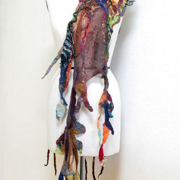 Autumn colors on trees / nuno felted scarf wrap shawl by akinamina