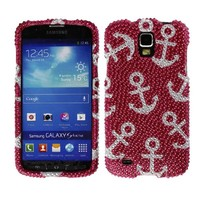 Fincibo (TM) Bling Crystal Rhinestones Hard Snap On Protector Cover Case For Samsung Galaxy S4 Active I537 - Anchor Pattern