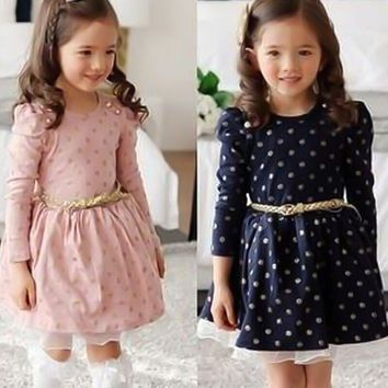 Autumn Dot Long Sleeve Dress For Girls Clothing Kids Dresses for Girls Teenager School Daily Wear Sashes Costume Casual Clothes
