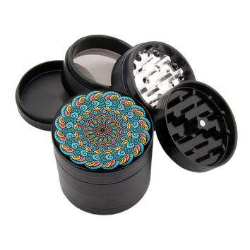 "Smoke Cloud Mandala - 2.25"" Premium Black Herb Grinder"