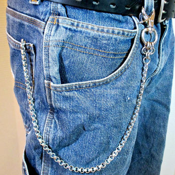 Hex Nut wallet chain, Stainless steel biker chain, steampunk accessory, men's chain, industrial chain