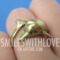 Miniature Dolphin Animal Ring in Bronze - Sizes 5 - 6.5