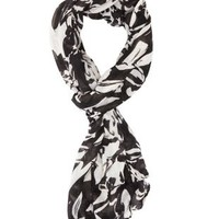 Black/White Lightweight Floral Print Scarf by Charlotte Russe
