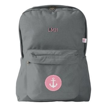Blush Pink Monogrammed Anchor Backpack