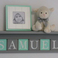 "Mint and Gray Nursery Name Shelves Customized for SAMUEL - 24"" Grey Shelf - 6 Letter Blocks Mint and Gray, Personalized Baby Nursery Decor"