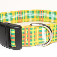 Green Yellow Orange Harvest Plaid Dog Collar