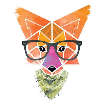 Hipster AF Geometric Fox Large Temporary Tattoo