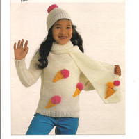 Ice Cream Sweater, scarf and hat, to fit chest 24 to 30 inch Knitting Pattern PDF download
